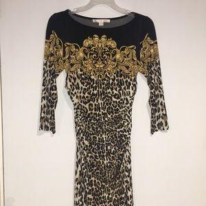 Boston Proper Rushed Leopard Print dress SZ 4
